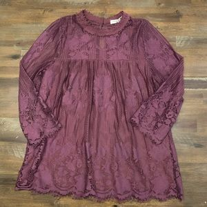 Chance or Fate burgundy lace long sleeve top